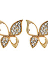 Lureme®Czech Stone Hollow Wings Butterfly Earrings (Assorted Colors)