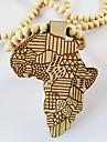 Homme Pendentif de collier Carte Bois Afrique Noir Jaune Rouge Bijoux Pour Quotidien Decontracte Regalos de Navidad