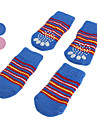Dog Socks Casual/Daily Keep Warm Winter Spring/Fall Stripe Blue Pink Cotton