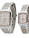 Couple Style Stainless Steel Alloy Analog Quartz Wrist Watch (Silver) Cool Watches Unique Watches