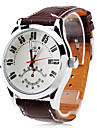 Men's Auto-Mechanical White Dial Brown PU Band Wrist Watch