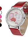 vermelho das mulheres sofá pu analógico relógio de pulso de quartzo (cores sortidas)