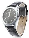 Unisex Elegant business stil PU Analog Quartz Wrist Watch (Sort)
