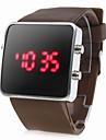 Спортивные светодиодные часы унисекс с квадратным циферблатом, коричневые