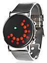 Unisex Dress Style Steel Digital LED Wrist Watch (Silver)