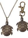 Unisex Turtles Style Alloy Analog Quartz Keychain Necklace Watch (Bronze)