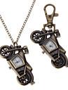 Unisexe moto en alliage de style analogique quartz Collier Keychain Watch (bronze)