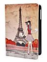 tyttö ja Eiffel-torni kuvio pu nahka tapauksessa w / jalusta iPad mini 3, ipad mini 2, iPad Mini