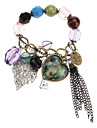 Peacock and Heart Metal Colorful Bead Charm Bracelet