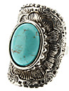 Women\'s Turquoise Geometric Arc Silver Ring