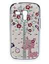 Adorável Flower Pattern Hard Case com strass para Samsung Galaxy S3 mini-I8190