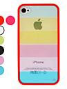 Transparent affaire du Rainbow Style TPU Frame dur avec Garde d\'ecran et chiffon de nettoyage pour iPhone 4/4S (facultatif couleurs)
