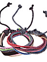 Vintage Style Genuine Leather Braided Cord Bracelet(Random Color)