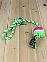 cuerda aspera duradera con tres nudos y bola de juguete de mascar para perros (color al azar)
