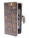 Boekenplank Patroon PU Full Body Case met Card Slot en PC Back Cover inzicht voor de iPhone 4/4S