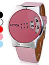 colorido botão rotativo relógio banda pu quartzo pulso das mulheres (cores sortidas)