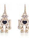 European Style Lovely Drill Gold Plated Mr Robot Earrings