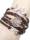 Women\'s Charm Bracelet Leather Bracelet Wrap Bracelet Basic Friendship Multi Layer Handmade Personalized Leather Love Infinity Brown