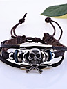 Men's Lureme Skull Charming Braided Leather Bracelet Jewelry Christmas Gifts