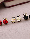 Earring Flower Stud Earrings Jewelry Women Party / Daily Alloy / Resin Black / White / Red