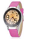여자의 카키색 둥근 다이얼 PU 밴드 석영 아날로그 손목 시계 (분류 된 색깔)