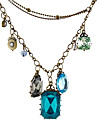 Multi-element pure Baroque style retro sweater chain necklace Gem N535