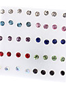 18 Pairs Round Shape Rhinestone Stud Earrings Mixed Color