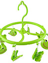 Green Plastic 8 Smile Frog Clips Round Shell Scarf Towel Gloves Hanging Clothes Peg