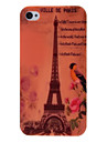 Eiffel Tower and Flowers Pattern Plastic Hard Case for iPhone 4 4S