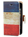 Jahrgang Frankreich Flagge Muster PU Full Body Gehaeuse mit Card Slot und Staender fuer iPhone 4/4S