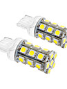 T20 5W 24x5060SMD 450LM 5500-6500K Cool White Light LED Bulb for Car (12V,2pcs)