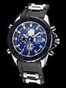 Orologio da uomo, multifunzionale, analogico-digitale, con quadrante rotondo in acciaio, cinturino di gomma (vari colori)