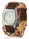 Women\'s Knitted Wide Fabric Band Quartz Analog Wrist Watch (Assorted Colors)
