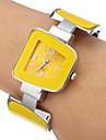 Mulheres Amarelo Dial Analog de quartzo pulseira relogio