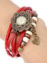 Women\'s Flower Case Heart Pendant Leather Band Quartz Analog Bracelet Watch (Assorted Colors)