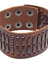 Punk 22Cm Men\'S Coffee  Leather Bracelet(Coffee)(1 Pc)