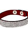 Quatro Row Cristal Couro Tennis Bracelet