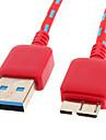 USB 3.0 para Micro USB 3.0 M / M Cable Net-chapeado vermelho para o Samsung Nota 3 (1M)