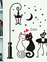 Night Streetlight Lovers Cat Pattern PVC DIY Wall Paper