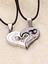 weet (Heart Pendant) Black Leather Pendant Necklace(2 Pc)