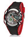 남자의 아날로그 - 디지털 멀티 기능 검정 고무 밴드 스포티 한 손목 시계