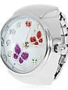 Kvinner Butterflies Moenster soelv legering Quartz Analog Ring Watch