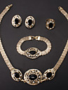 Fashion Gold Alloy (Necklace&Bracelet&Earrings&Ring) Jewelry Set(Black)