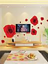 1pcs πολύχρωμο ρομαντικό κόκκινο τριαντάφυλλο αυτοκόλλητο τοίχου