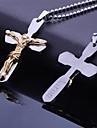 Personalizada Regalos de acero inoxidable Jesus Biblias transversal en forma de collar colgante grabado con 60 cm Cadena