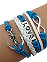 Miss ROSE®Fashion Anchor 8-Word LOVE Leather Bracelet