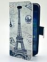 Torre Eiffel com Soft Case Pattern Mapa Couro PU com slot para cartao e suporte para Samsung Galaxy S4 mini-I9190