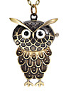 Women's Owl Shape Round Dial Alloy Band Quartz Analog Necklace Watch
