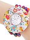Women's Flower Pattern Elastic Colorful Wooden Pearl Band Quartz Bracelet Watch Cool Watches Unique Watches