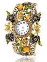 Frauen-Boehmen-Art-Champagne Blumendekor Bronze Legierungs-Quarz-Armbanduhr